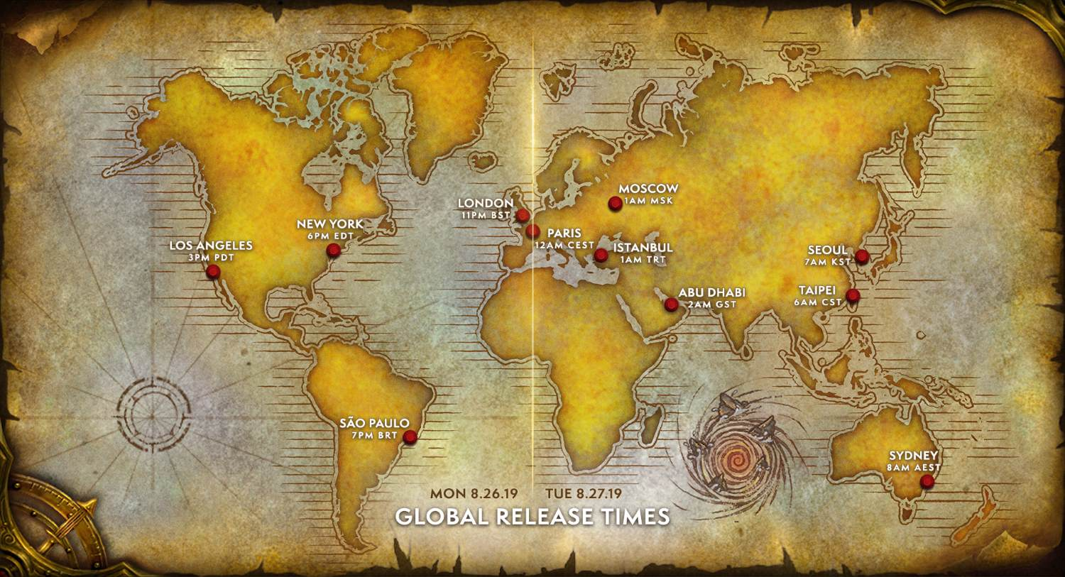 WoW Classic Global Release Map