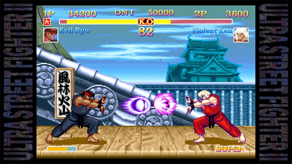 Evil Ryu and Violent Ken battle it out with classic sprite art visuals