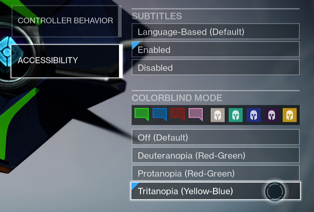Destiny is one example of how Colour-Blind options are becoming a new standard in game development.