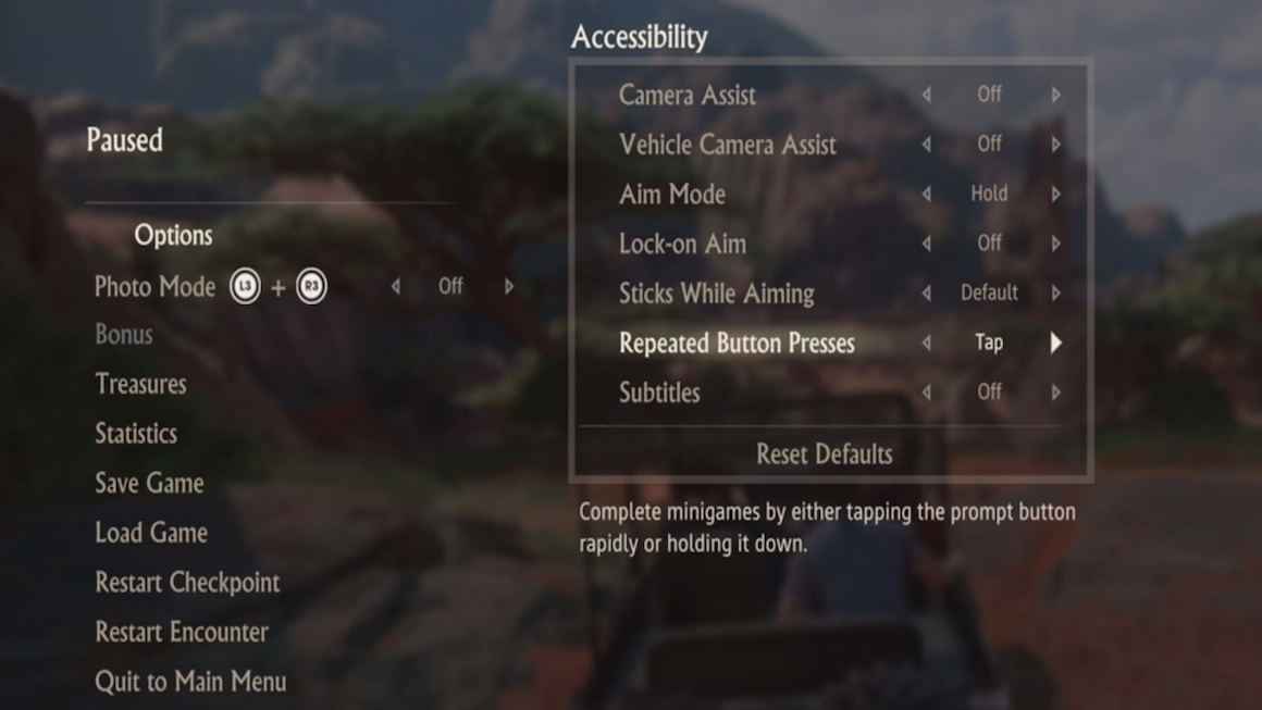 The excellent Accessibility options in Uncharted 4.