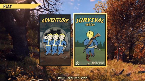 Fallout 76 adds Survival Mode Beta